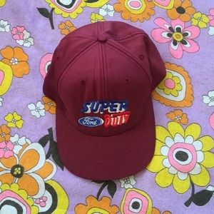 Accessories - Vintage Ford 1970s maroon snap back cap